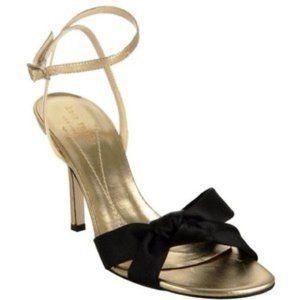 Kate Spade gold and black ankle strap Loupe heels